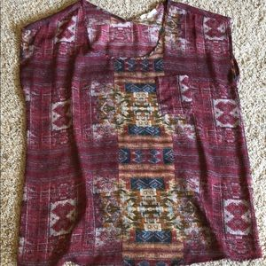 Pleione Red Tribal Aztec blouse Sz S Nordstrom